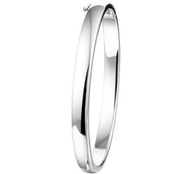 Slanke Zilveren Bangle armband met Ovale Buis