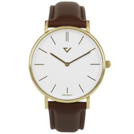 Prisma Goudkleurig Heren Horloge met Bruin Lederen Horlogeband