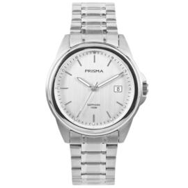 Elegant Prisma Horloge van Edelstaal met Zilverkleurige Wijzerplaat