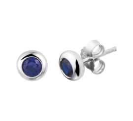 Zilveren Oorknoppen met Blauwe Zirkonia's
