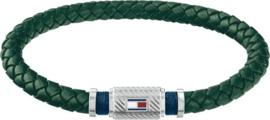 Groen Lederen Gevlochten Armband van Tommy Hilfiger