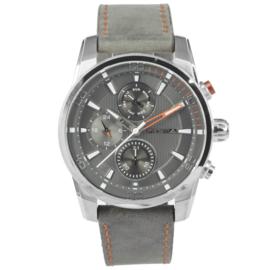 Prisma Heren Horloge van Edelstaal met Rode Wijzer en Grijze Elementen