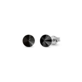 Spark Small Candy Oorknoppen met Zwart Glaskristal