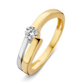 Excellent Jewelry Geelgouden Ring met Witgouden Strook en Zirkonia