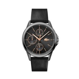 Lacoste Zilverkleurig Florence Horloge met Zwarte Band