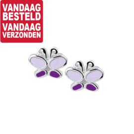 Paars met Donkerpaarse Vlinder Oorknoppen van Zilver