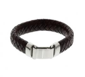 Luxueuze Gevlochten Armband van Donkerbruin Leer