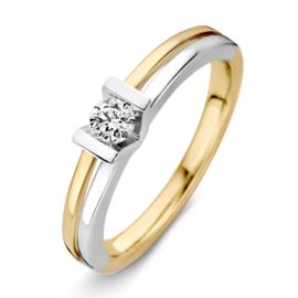 Excellent Jewelry Bicolor 4,0mm Ring met Briljant in V-vorm