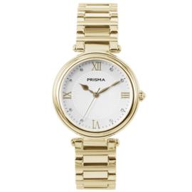 Prisma Goudkleurig Dames Horloge van Edelstaal