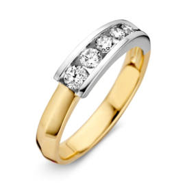 Excellent Jewelry Gouden Dames Ring met Witgouden Uiteinde en Diamanten