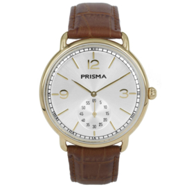 Goudkleurig Edelstalen Heren Horloge met Zilverkleurige Wijzerplaat en Goudkleurige Cijfers