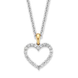 Excellent Jewelry Witgouden Collier met Hartvormige Hanger met Briljanten