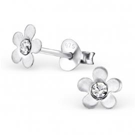 Bloemen Oorbellen + Strass steentje crystal