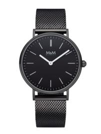 Zwart M&M Horloge voor Dames met Zilverkleurige Wijzers