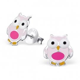 Zilveren Kinderoorbellen Roze Uiltjes