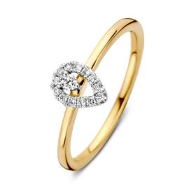 Excellent Jewelry Bicolor Ring met Druppelvormig Kopstuk