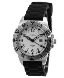 John Jongens Horloge met Zilverkleurige Kast en Zwarte Horlogeband