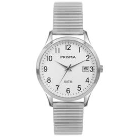 Prisma Zilverkleurig Flex Heren Horloge met Schakelband