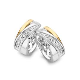 Excellent Jewelry Creolen van Zilver met Goud en Kleurloze Zirkonia's