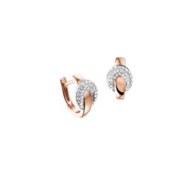 Roségouden Klapcreolen met Witgouden Diamant 0.28 ct Ovaaltje