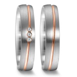 Matte Zilveren Trouwringen Set met Slanke Roségouden Lijn en Diamanten