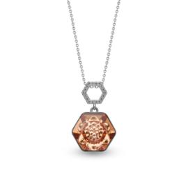 Favo Ketting met Bronskleurig Zeshoekige Glaskristal Hanger