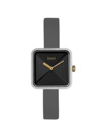 Vierkant M&M Dames Horloge met Grijze Horlogeband