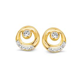 Excellent Jewelry Geelgouden Twist Oorstekers met Zirkonia's