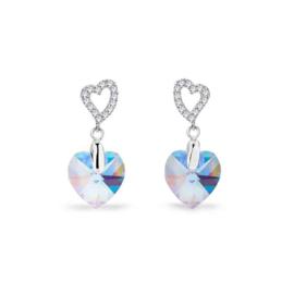 Spark Amore Zilveren Oorhangers met Aquamarijn Glaskristal