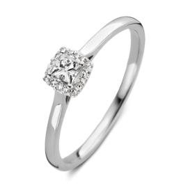 Excellent Jewelry Witgouden Ring met Vierkant Briljant Kopstuk