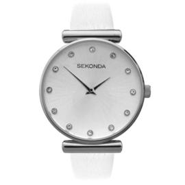 Fris Zilverkleurig Dames Horloge met Witte Horlogeband