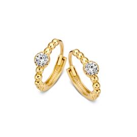 Excellent Jewelry Geelgouden Bolletjes Creolen met Zirkonia
