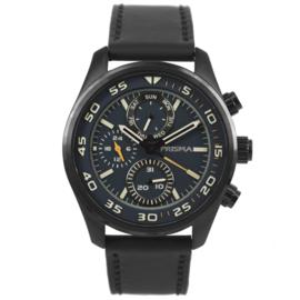 Zwart Multi-Functie Edelstalen Horloge met Blauwe Wijzerplaat