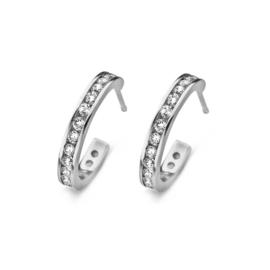 New Bling Zilveren Steekcreolen met Kleurloze Zirkonia's
