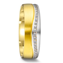 Matte 9 Karaat met Gepolijste Zilveren Dames Trouwring met 45 Diamanten