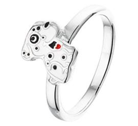 Zilveren Ring met Rhodium en Hondje met Emaille