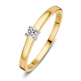 Excellent Jewelry Gouden Ring met 0,09 crt. Briljant
