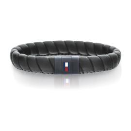 Brede Gedraaide Zwart Lederen Heren Armband van Tommy Hilfiger TJ2701056