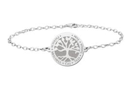 Zilveren Armband met Ronde Levensboom Naamhanger > Names4ever