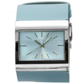 Prisma Rechthoekig Breed Dames Horloge met Lichtblauw Lederen Horlogeband