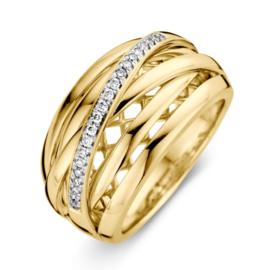 Excellent Jewelry Geelgouden Fantasie Ring met Briljant Strook