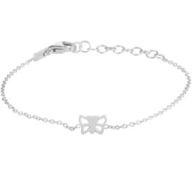 Zilveren Anker Armband met Opengewerkte Vlinder