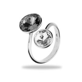 Piruli Zilveren Ring met Grijze en Witte Swarovski kristallen