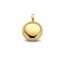 Ronde Zilveren Medaillon met Goudkleurige Coating 14 / 19 mm