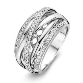 Excellent Jewelry Brede Witgouden Ring met Kleurloze Diamanten