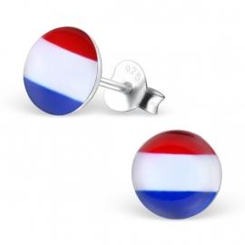 Nederlandse Vlag Oorbellen van Zilver