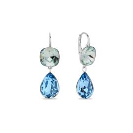 Midnight Tear Hangoorbellen met Lichtblauwe en Blauwe Swarovski Kristallen
