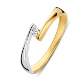Excellent Jewelry Abstracte Bicolor Ring met Kleurloze Zirkonia
