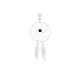 Droomvanger Hanger van Gerhodineerd Zilver met Zwarte Bol