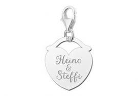 Names4ever Zilveren Hart Charm-bedel voor Twee Namen